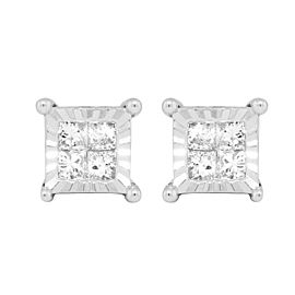 10K White Gold 0.25ct Princess Diamond Miracle Set Stud Earrings