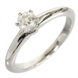 Tiffany & Co. Platinum 0.27 Ct Enhanced Diamond Solitaire Size 4.25 Ring