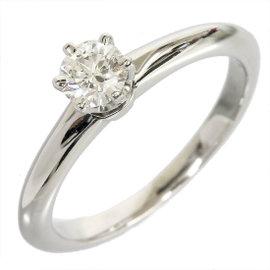 Tiffany & Co. Platinum 0.27 Ct Enhanced Diamond Solitaire Size 4.25 Ring