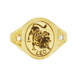 10K Yellow Gold Leo Lucky Lion Zodiac Astrology Designer Pinky Ring