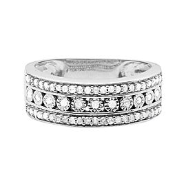 10K White Gold 0.30ct. Diamonds Engagement Wedding Band Ring