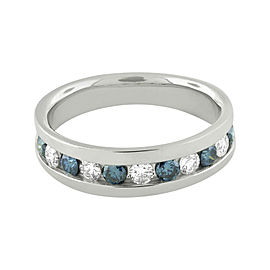 10K White Gold Comfort Fit Treated Blue And White Diamond Band Ring