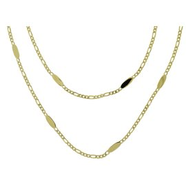 Cartier Long 18K Yellow Gold Oval Mirror Chain Link Necklace