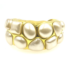 Chanel Gold Tone Metal Faux Pearl Cuff Bracelet