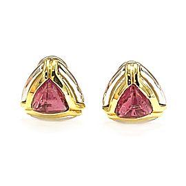 18k Two Tone Pink Tourmaline Earrings
