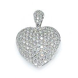18k White Gold Pave Diamond Heart Pendant Necklace
