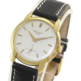 Patek Philippe Dress 2536 18K Yellow Gold / Leather Manual Vintage 34mm Mens Watch