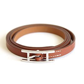 Hermes Hapi Leather & Silver Tone Hardware H Buckle Triple Tour Bracelet
