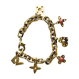 Louis Vuitton Gold Tone Hardware Monogram Charms Bracelet
