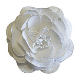 Chanel Vintage Gold Tone Hardware with White Silk Camellia Flower Brooch