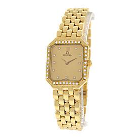 Omega Deville 18K Yellow Gold & Diamond Quartz 20mm Womens Watch