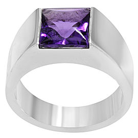 Cartier Tank Ring 18K White Gold Amethyst Size 6.75