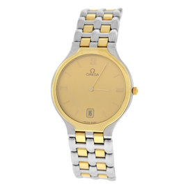 Omega Deville Stainless Steel & 18K Yellow Gold Plated Quartz 32mm Unisex Watch