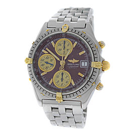 Breitling Chronomat B13048 Stainless Steel & 18K Yellow Gold Red Dial Automatic 38mm Mens Watch