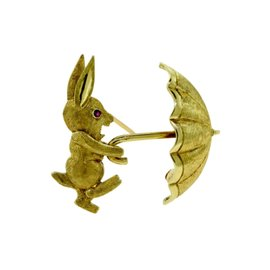 Vintage Cartier 14K Yellow Gold and Ruby Rabbit with Umbrella Pin Brooch