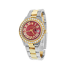 Rolex Datejust 1601 18K Yellow Gold & Stainless Steel Red Dial 36mm Unisex Watch