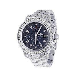 Breitling Super Avenger XL A13370 Stainless Steel Blue Dial Diamond 48mm Mens Watch