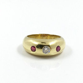 Cartier 18K Yellow Gold 0.1ct Round Ruby and Diamond Ring Size 5.5