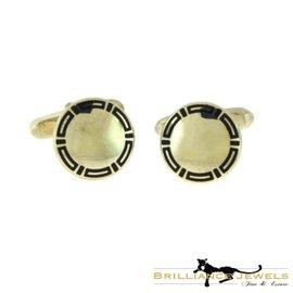 Bulgari 925 Sterling Silver with Black Enamel Vintage Mirror Cufflinks
