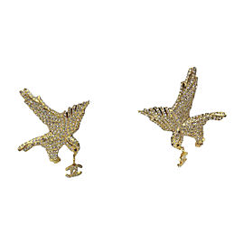 Chanel Vintage Gold Tone Hardware with Crystal Eagle CC Charms Earrings
