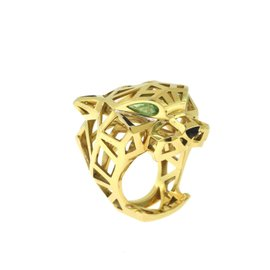 Cartier Panthère de Cartier 18K Yellow Gold with Tsavorite Garnet & Black Onyx Ring Size 8