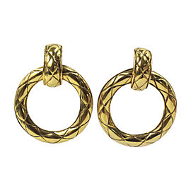Chanel Vintage Gold Tone Hardware Huggie Hoop Clip On Earrings