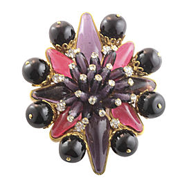 Chanel Vintage Gold Tone Hardware and Gripoix with Crystal Enhancer Brooch