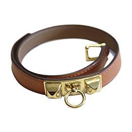 Hermes Orange Leather & Gold Tone Hardware Rivale Buckle Bracelet