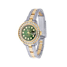 Rolex Datejust 6917 18K Yellow Gold & Stainless Steel Green Dial 26mm Womens Vintage Watch