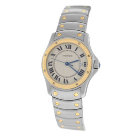 Cartier Santos Ronde 1551 Stainless Steel & 18K Yellow Gold Quartz 30mm Womens Watch