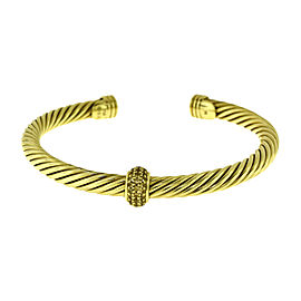 David Yurman Cable Classics 18K Yellow Gold with 0.21ct Diamonds Cuff Bracelet