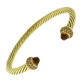 David Yurman Cable Classics 18K Yellow Gold Citrine and Diamonds Cuff Bracelet