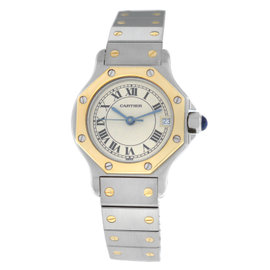 Cartier Santos Octagon 187903 Stainless Steel & 18K Yellow Gold Quartz 25mm Womens Watch