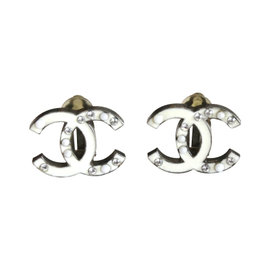 Chanel Vintage Silver Tone Hardware and White Enamel with Faux Seed Pearl and Crystal Clip On Earrings