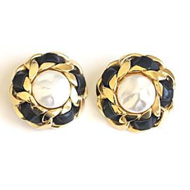 Chanel Vintage Gold Tone Hardware and Black Leather with Simulated Glass Pearl Clip On Earrings