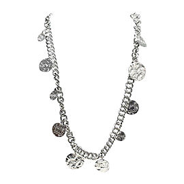 Chanel Peace & Love Silver Tone Hardware Chain Coin Necklace