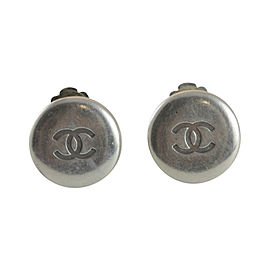 Chanel Silver Tone Hardware CC Button Clip On Earrings