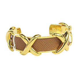 Hermes Gold Tone Hardware and Leather Open Bangle Bracelet
