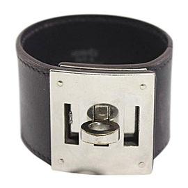 Hermes Palladium and Leather Cuff Bracelet
