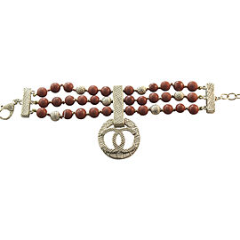 Chanel Gold Tone Hardware & Red Coral Beaded 3 Strand CC Charm Bracelet