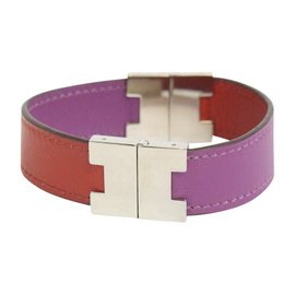 Hermes Palladium and Leather Cuff Bracelet