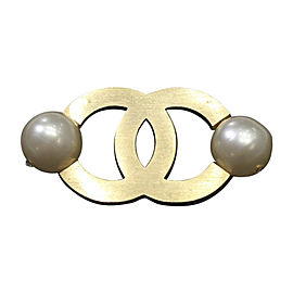 Chanel CC Gold Tone Hardware Simulated Glass Pearl & Strass Crystal Vintage Brooch