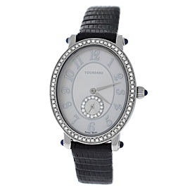 Ladies Tourneau 34004-A-Wht Quartz Diamond Steel 26MM MOP Watch