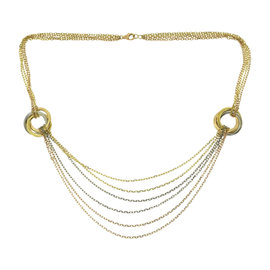 Cartier Trinity 18K Yellow, Rose & White Gold Multi Strand Waterfall Necklace