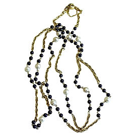 Chanel Gold Tone Hardware with Simulated Glass Pearl & Blue Glass Bead Vintage Necklace