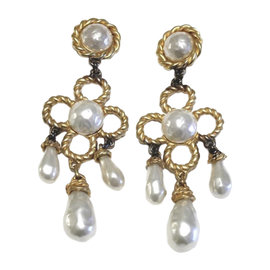 Chanel Vintage Gold Tone Hardware Glass Simulated Pearl Chandelier Clip On Earrings