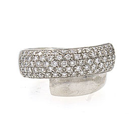 Leo Pizzo Diamond Crossover 18k White Gold Band Ring Size 5