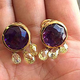 18K Yellow Gold Amethyst Diamond Briolettes Earrings