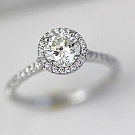 14K White Gold Diamond Halo Engagement Ring Size 6.75