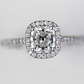 14K White Gold Mine Cut Diamond Halo Engagement Ring Size 6.75